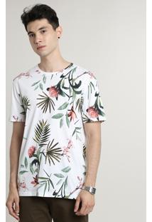 Camiseta Masculina Estampada Floral Manga Curta Gola Careca Off White