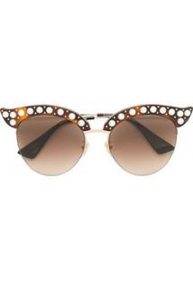Gucci Eyewear Óculos De Sol Com Semiesferas Peroladas - Marrom