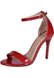 Sandália Eagle Black Alta Verniz Feminina - Feminino-Vermelho Escuro