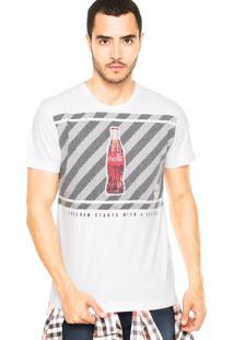 Camiseta Coca-Cola Jeans Craquelado Branca