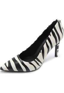 Scarpin Couro Jorge Bischoff Zebra Branco