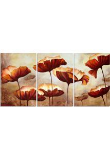 Quadro Decorativo Para Sala Flor Abstrato Bege - Multicolorido - Dafiti