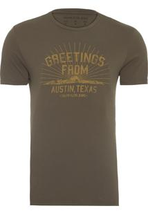 Camiseta Masculina Greetings - Verde