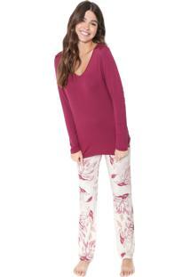 Pijama Cor Com Amor Estampado Rosa/Bege