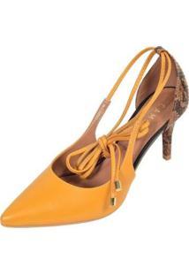 Scarpin Camminare Bico Fino Salto Fino Amarração - Feminino-Amarelo Escuro