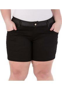 Shorts Confidencial Extra Plus Size Com Aplique Nos Bolsos Feminino - Feminino-Preto