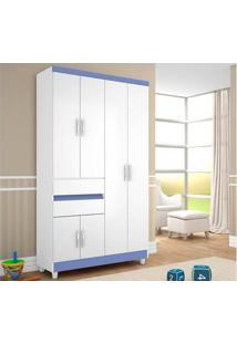 Guarda-Roupa 6 Portas 2 Gavetas 1160 Branco Azul - Araplac
