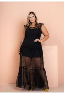 Vestido Longo Tule Eloah Black Maria Rosa