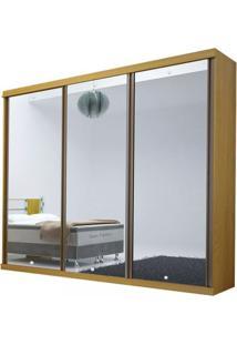 Guarda-Roupa Brilhante Com Espelhos - 3 Portas - 100% Mdf - Noce