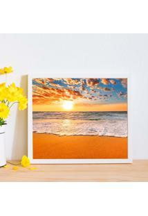 Quadro Decorativo Com Moldura Por Do Sol Praia