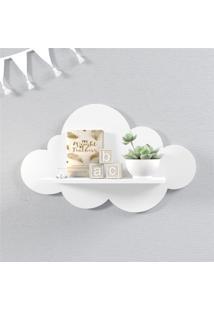 Prateleira Nuvem Branca Quarto Bebê Mdf M 45Cm Grão De Gente Branco