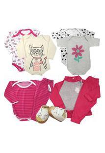 Presente Enxoval Roupa Bebê Kit 9 Peças Body Menino Menina Rosa