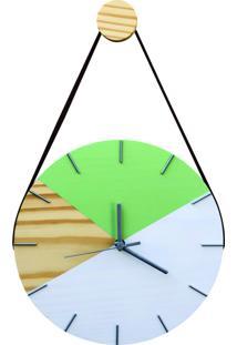 Relógio De Parede Geométrico Branco E Verde Dolar Com Alça 28Cm