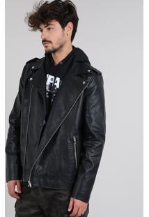Jaqueta Perfecto Masculina Com Bolsos E Martingale Preta