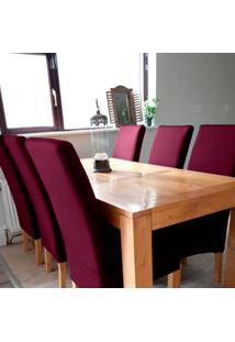 Kit Jogo 6 Capas Para Cadeira Universal Com Malha De Gel Vinho Macio Anti Suor Casa Dona