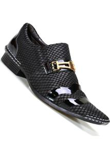 Sapato Social Artesanal Masculino Calvest Com Bridão Couro - Masculino-Preto