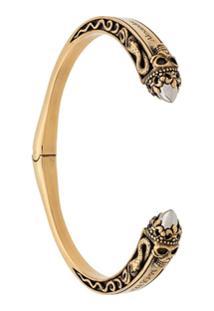 Alexander Mcqueen Bracelete Twin Skull - Dourado