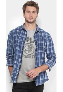 Camisa Replay Chess Washed Masculina - Masculino-Azul
