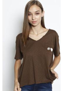 Camiseta Em Flamê Com Bolso - Marrom & Off Whitecanal