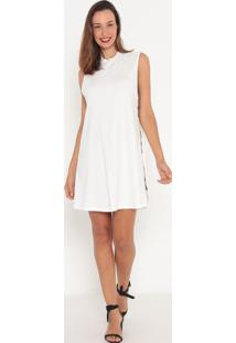 Vestido Liso- Off White & Preto- Tritontriton