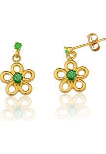 Brinco Le Diamond Flor De Ouro 14K Com Pedras Verde Esmeralda - Kanui