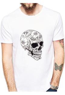 Camiseta Coolest Crânio Masculina - Masculino-Branco