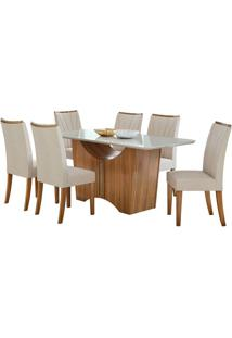 Sala De Jantar Rock 170Cm Com 6 Cadeiras Linho Rinzai Bege