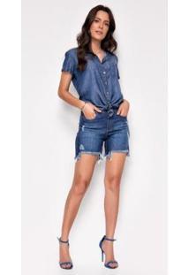 Bermuda Jeans Zait Meia Coxa Jamaica Feminina - Feminino-Azul