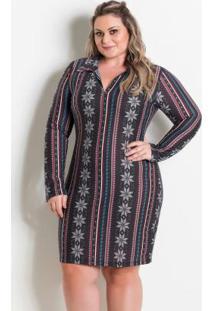 Vestido Com Gola Étnico Marguerite Plus Size