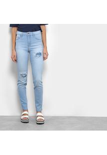 Calça Jeans Coca-Cola Super High Skinny Feminina - Feminino-Azul