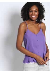 Blusa Lisa Com Botões- Roxatvz
