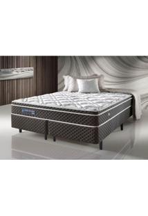Cama Box Casal King Size Com Molas Ensacadas Relax Adorabile Marrom - 193X203X63Cm