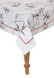 Toalha De Mesa Karsten Quadrada Sempre Limpa Bamboo 160X160Cm Branca/Cinza