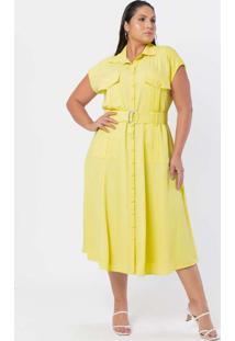 Vestido Almaria Plus Size Pianeta Midi Utilitário