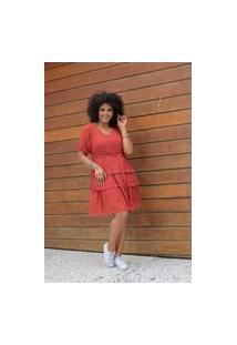 Vestido Curto Almaria Plus Size Uva Doce Faixa Marrom