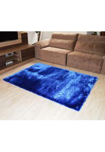 Tapete Elsa Retangular Shaggy 100X150 Cm Azul