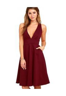 Vestido Com Bolso Duplo E Decote V - Vinho