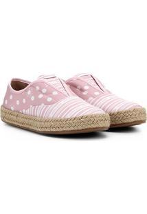 Tênis Alpargata Petite Jolie Estampado Feminino - Feminino-Rosa+Branco