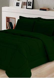 Kit Edredom Casal Queen + Jogo De Lenã§Ol 06 Peã§As Aconchego Dupla Face Cotex Verde - Verde - Dafiti