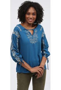 Blusa Com Bordados - Azul & Douradascalon