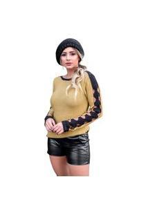 Blusa Tricot Feminina Inverno Emily Shopping Do Tricô Furos.