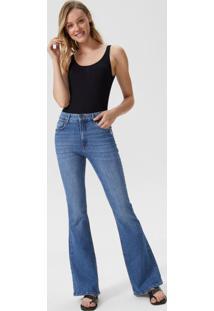 Calça Jeans Flare Com Leve Puído Bolso
