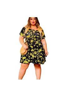 Vestido Rodado Feminino Plus Size Rodado Boneca Dona Bordô - Amarelo