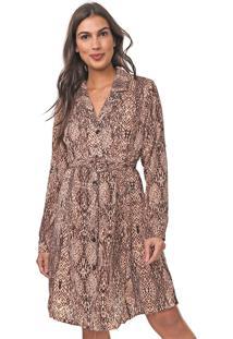 Vestido De Inverno Lily Fashion Curto Estampado Bege/Preto - Bege - Feminino - Poliã©Ster - Dafiti