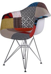 Cadeira Eames Com Braco Base Cromada Patchwork - 36399 Sun House