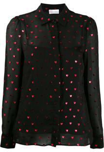 Red Valentino Blusa Redvalentino Translúcida Com Estampa De Coração - Preto