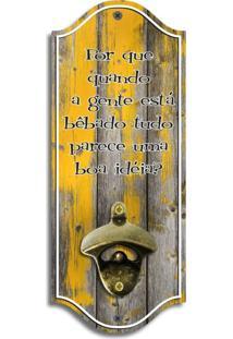Abridor De Garrafas De Parede Madeira Amarelo Pátina Único