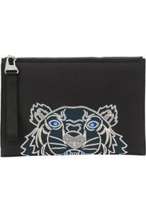Kenzo Clutch Com Estampa De Tigre E Logo - Preto