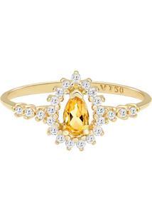 Anel Ouro Amarelo Citrino E Diamantes