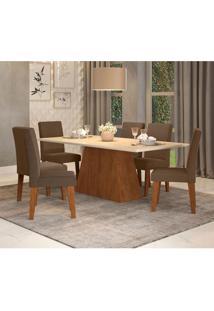 Conjunto De Mesa De Jantar Com 6 Cadeiras Estofadas Bianca Suede Off White E Chocolate